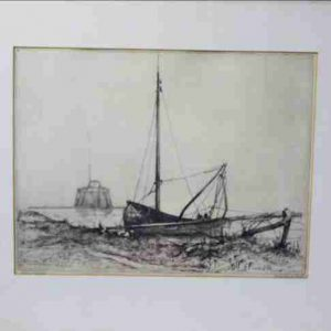 Ets 1952 Ant van de Ven Vissersboot Gesigneerd ingelijst