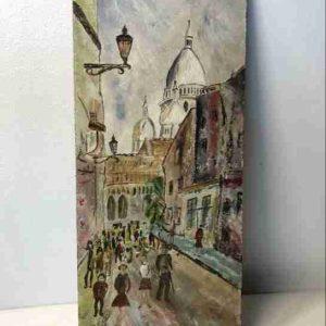 Anton Burger (1824-1905) stadsgezicht op paneel olieverf ges